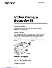 SONY CCD-TRV30 OPERATION MANUAL Pdf Download