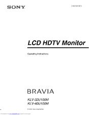 sony bravia klv 40u100m operating instructions manual pdf download rh manualslib com Sony Bravia TV HDMI Ports Sony BRAVIA VGA
