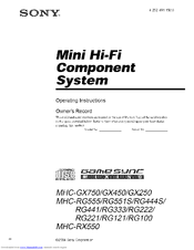 Sony MHC-RG441 Operating Instructions Manual