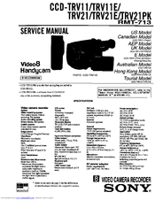 Sony CCD-TRV21 - Video Camera Recorder 8mm Service Manual