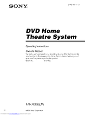 Sony HT-7000DH Operating Instructions Manual
