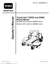Toro TimeCutter Z5060 Manuals