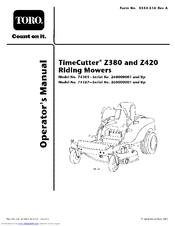toro timecutter z380 operator s manual pdf download rh manualslib com Toro Z4200 Zero Turn toro timecutter z4200 service manual