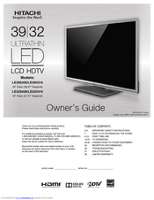 hitachi le39h316 manuals rh manualslib com Hitachi TV HDTV Hitachi TV