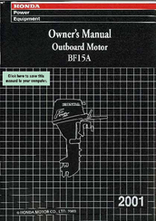 HONDA BF15A OWNER'S MANUAL Pdf Download. on