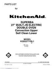 KitchenAid KEBS277YWH1 Parts List