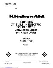 KitchenAid KEBS277YWH1 Parts List