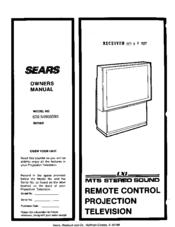 sears lxi 626 54908590 series manuals rh manualslib com Sony TV Videoscope Coffee Table LXI TV Input