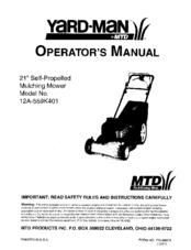 mtd yard man 12a 559k401 manuals rh manualslib com MTD Yardman Parts Diagram 600 Series Yardman MTD Auto Drive