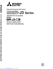 Mitsubishi Electric Melservo MR-J3-100B Instruction Manual