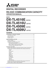 Mitsubishi Electric DX-TL4516U series Operation Manual