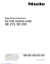 Miele SE 213 Operating Instructions Manual