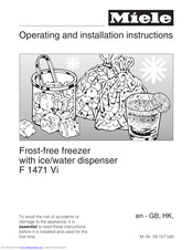 Miele F 1471 Vi Operating And Installation Manual