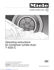 Miele HoneyComb care T 4222 C Operating Instructions Manual