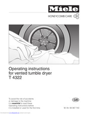 Miele HoneyComb care T 4322 Operating Instructions Manual
