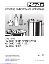Miele KM 2050 Operating And Installation Manual
