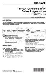 Honeywell T8602C Installation Instructions Manual