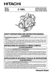 Hitachi C 18DL Safety Instructions And Instruction Manual