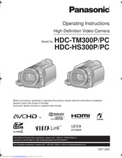 Panasonic HDC-HS300P Operating Instructions Manual
