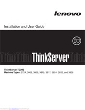 Lenovo ThinkServer TD200 Installation And User Manual