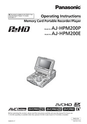 Panasonic AJ-HPM200P Operating Instructions Manual