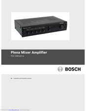 Bosch PLE-1MEXX0-XX Installation And Operation Manual