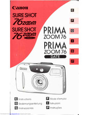 Canon Sure Shot 76 Zoom Date Instructions Manual