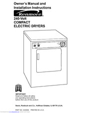 KENMORE 240-volt compact electric dryers Owner's Manual & Installation Instructions