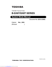 Toshiba B-SX8T SERIES System Mode Manual