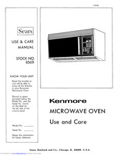 KENMORE 85651 Use And Care Manual