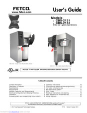 Fetco CBS-2132 XTS-3L User Manual