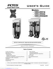 Fetco CBS-2052E20 User Manual