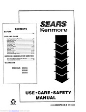 KENMORE Sears 95955 Use And Care Safety Manual