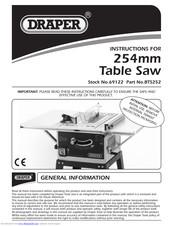 Draper 254mm Table Saw Instructions