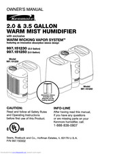 KENMORE 2.0 & 3.5 gallon warm mist humidifier 997.151230 Owner's Manual