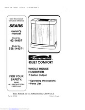 KENMORE 758.144071 Quiet comfort Owner's Manual
