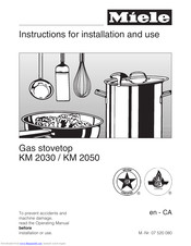 Miele KM 2050 Instructions For Installation And Use Manual