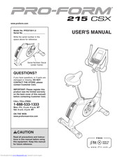 Pro Form 215 Csx Bike Manuals Manualslib