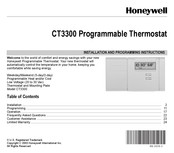 Honeywell MagicStat CT3300 Installation And Programming Instructions