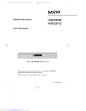 Sanyo HVR-DX710 Instruction Manual