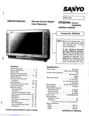 Sanyo HT30744 Service Manual