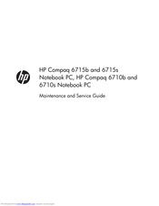 HP Compaq 6710s Maintenance And Service Manual