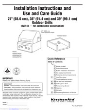 KitchenAid KBGS292PSS Installation Instructions And Use And Care Manual