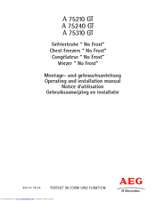 AEG A 75240 GT Operating And Installation Manual
