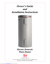 Rheem Electric Domestic Water Heater Installation And
