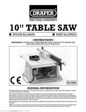 Draper Table Saw Instructions Manual