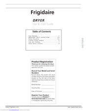 Frigidaire Dryer Use & Care Manual