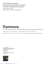 Kenmore 11076002011 Installation Instructions Manual