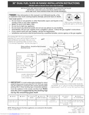 Frigidaire CFCS367GC1 Installation Instructions Manual