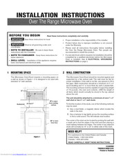 Frigidaire FGMV173KWA Installation Instructions Manual